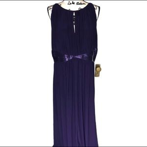 JD Boutique Purple Beaded Detail Gown NWOT